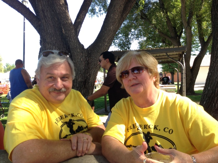 Jim and Cheri take a break at last years Miner's Day in Frederick, Colorado